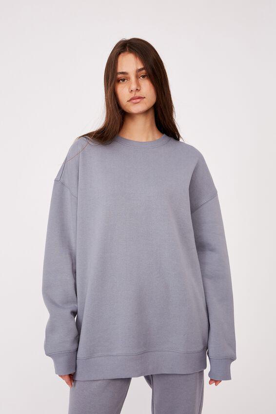 Oversized Crew Neck Sweater, FOG GREY