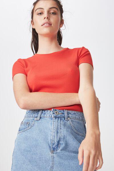 Short Sleeve Rib T Shirt, FLAME SCARLETTE