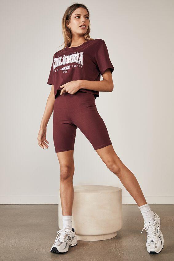 Short Sleeve Crop Graphic T Shirt, WINDSOR WINE/COLUMBIA