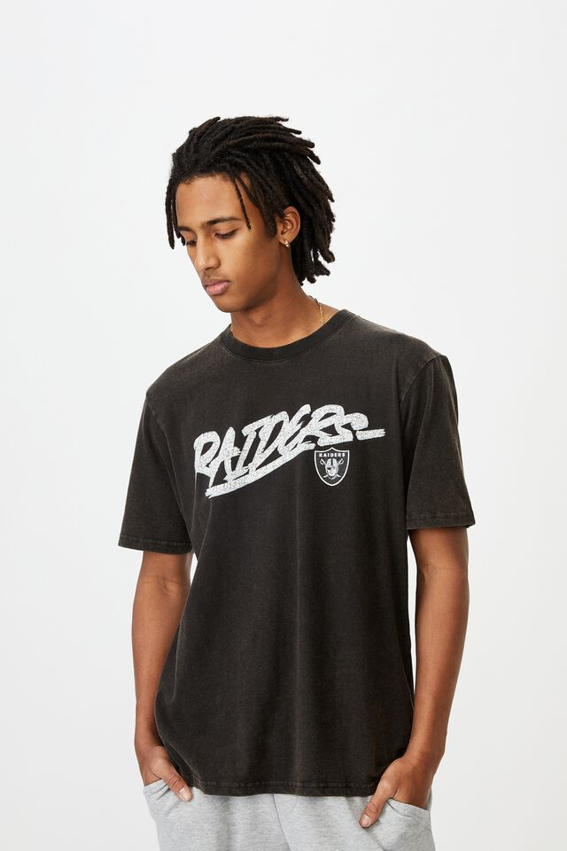 Regular License T Shirt, LCN NFL WASHED BLACK/RAIDERS SCRIPT