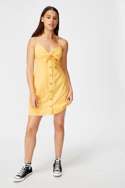 Tie Front Button Through Dress, CORNSILK