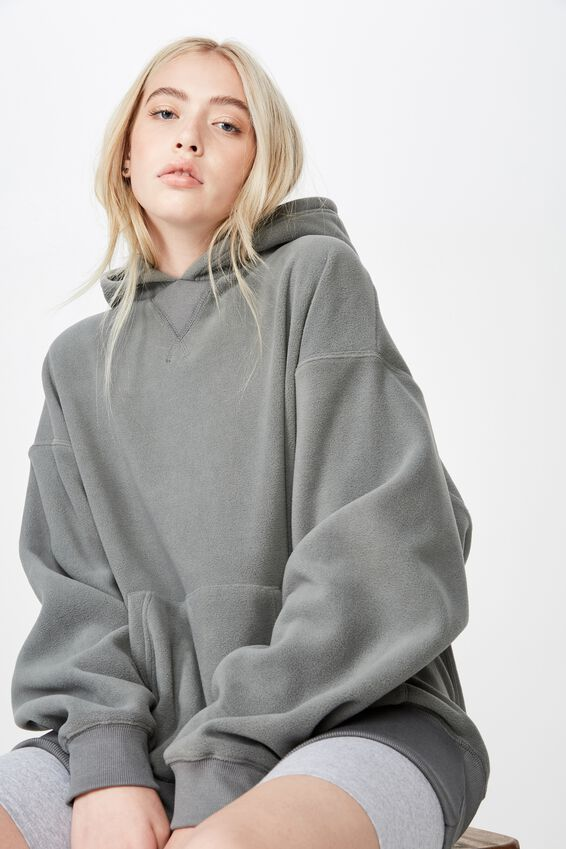 Oversized Polar Fleece Hoodie, SAGE