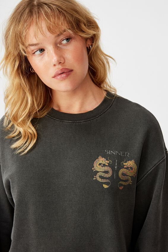 Graphic Sweater, WASHED BLACK/SINNER DRAGON