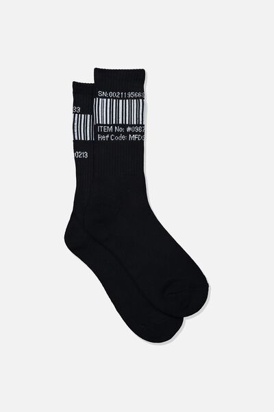 Retro Ribbed Socks, BARCODE_BLACK
