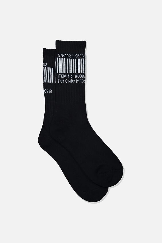 Retro Ribbed Socks, BARCODE_BLACK