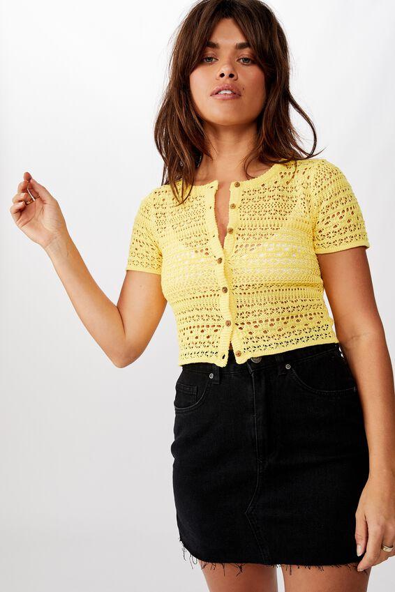 Crochet Short Sleeve Cardi, YELLOW