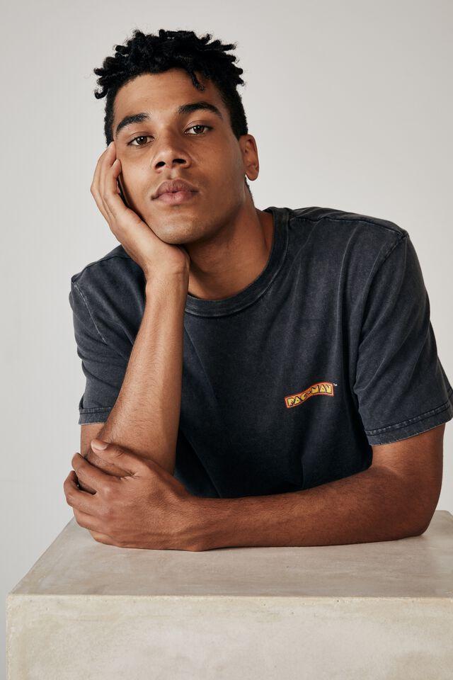 Regular Gaming T Shirt, LCN PAC WASHED BLACK/PAC MAN