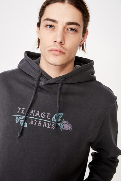 Graphic Hoodie, WASHED BLACK/STRAYS