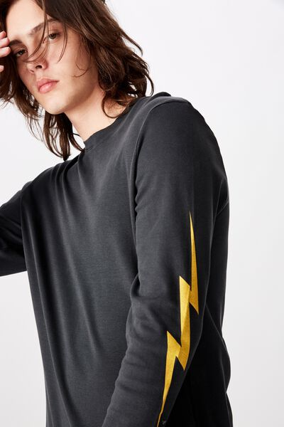 Slim Long Sleeve Graphic T Shirt, WASHED BLACK/LIGHTNING