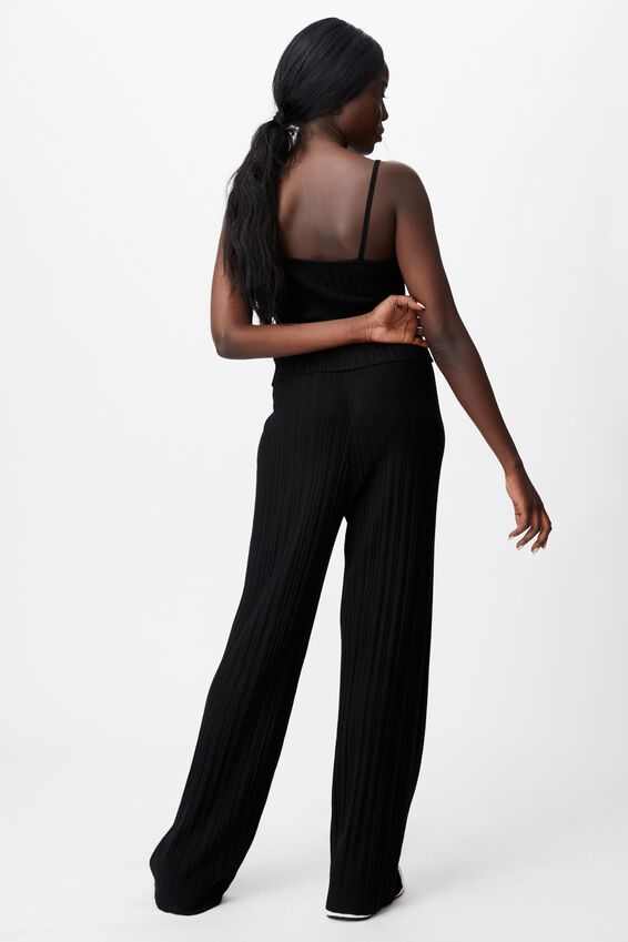 Variegated Rib Wide Leg Pant, BLACK