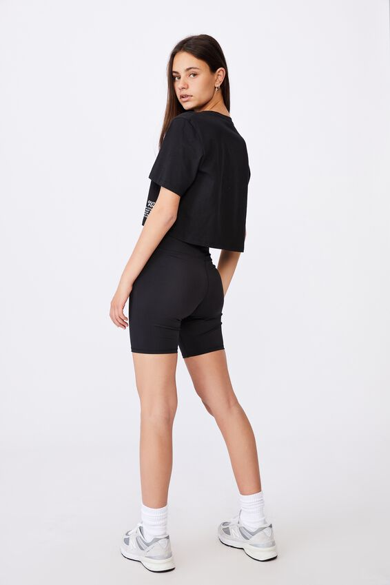 Short Sleeve Raw Edge Crop Graphic T Shirt, BLACK/OUT OF FOCUS