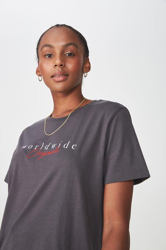 Relaxed Graphic T Shirt, ASPHALT/WORLDWIDE