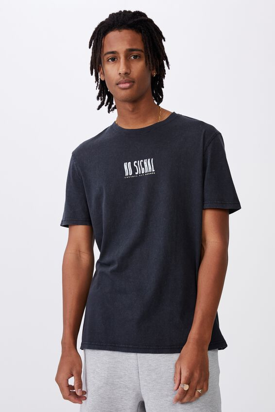 Regular Graphic T Shirt, WASHED BLACK/NO SIGNAL