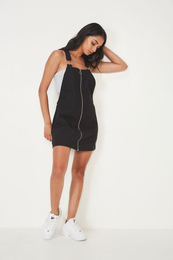 Zip Front Dress 2, BLACK