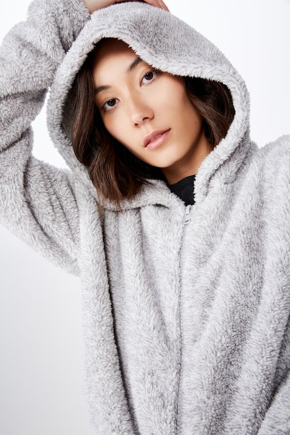 Plush Zip Thru Hoodie, SPECKLED GREY