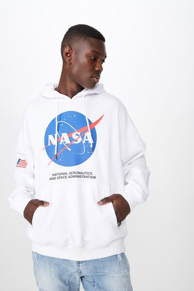 License Oversized Graphic Hoodie, WHITE/NASA