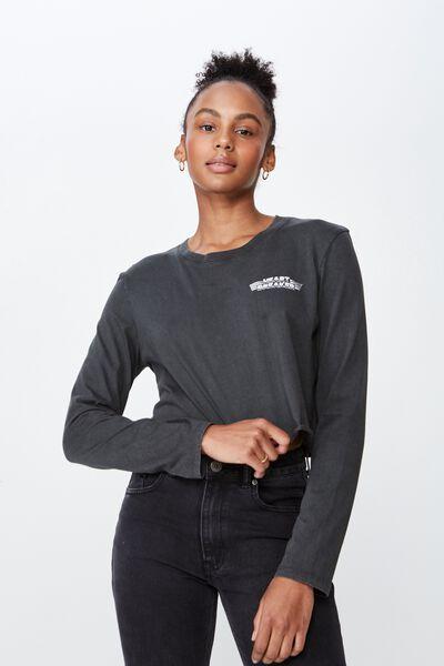 Long Sleeve Raw Edge Graphic Tshirt, ASPHALT/HEARTBREAKER