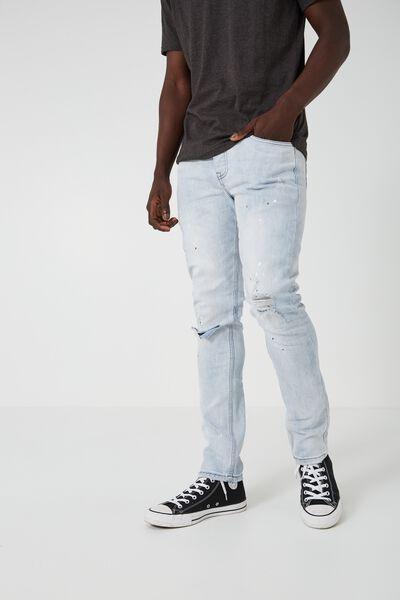 Skinny Leg Denim Jean, ICE BLUE SPLATTER