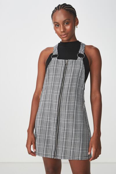 Zip Front Dress 2, BLK/WHT CHECK