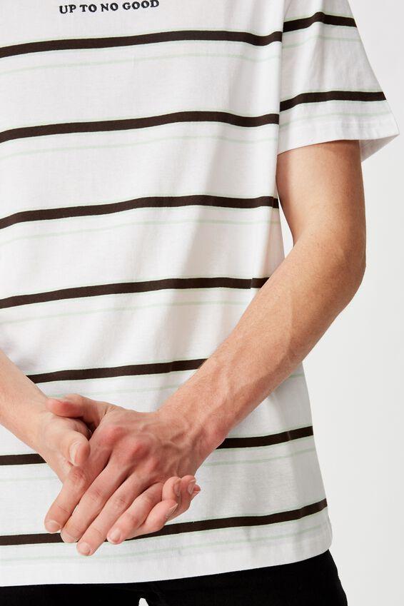 Embroidered Stripe T Shirt, WHITE/NO GOOD STRIPE