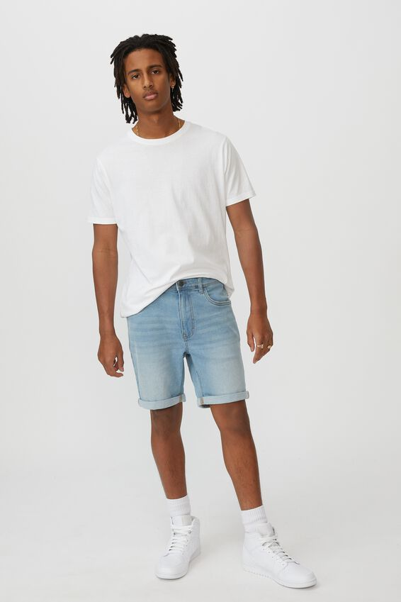 Slim Cut Denim Short, CALI BLUE