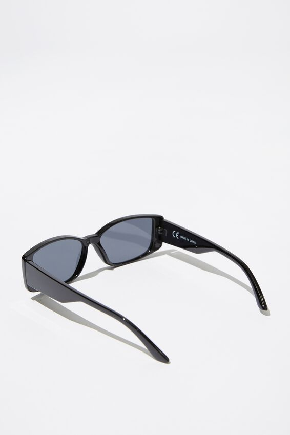 Rectangle Short Frame Sunglasses, BLACK