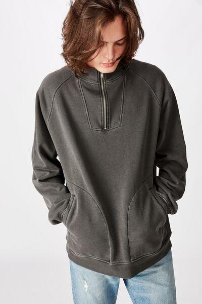 Quarter Zip Fleece, WASHED BLACK