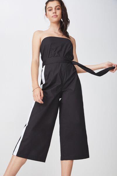 Strapless Jumpsuit, BLACK W/ WHITE STRIPE