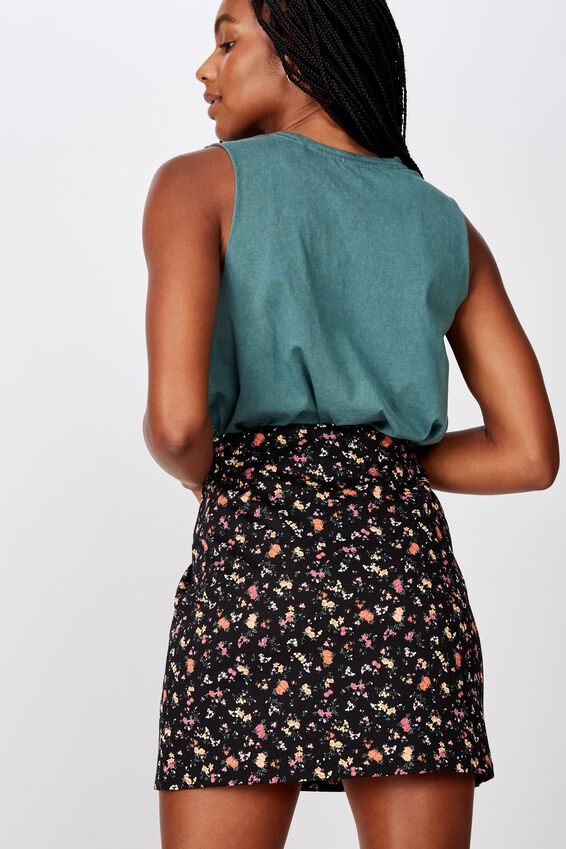 Double Split Mini Skirt, ESME BLACK FLORAL