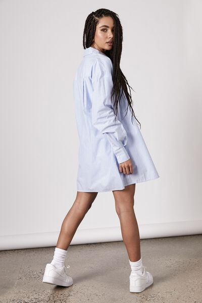 Long Sleeve Woven Shirt, BLUE WHITE STRIPE