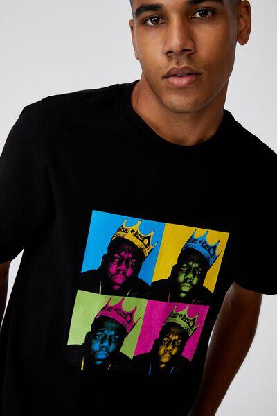 Regular Music Merch T Shirt, LCN MT BLACK/BIGGIE BOX