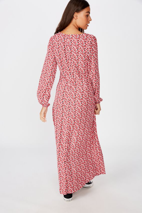 Long Sleeve Maxi Dress, JAYDA DITSY RED