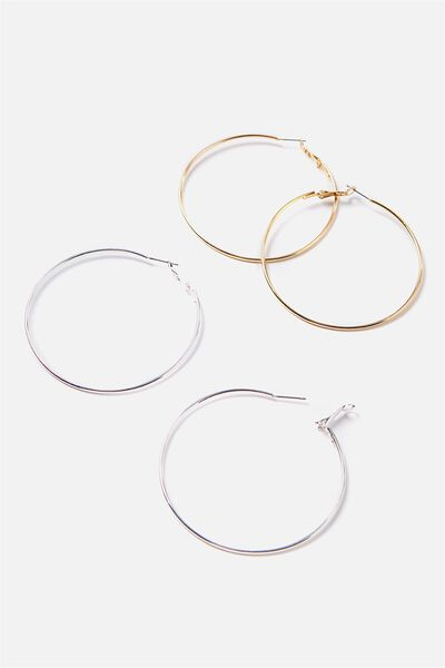 Hoop Earring 2Pk, GOLD/SILVER