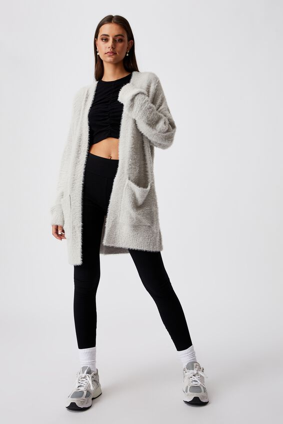 Fluffy Knit Longline Cardigan, VAPOR BLUE