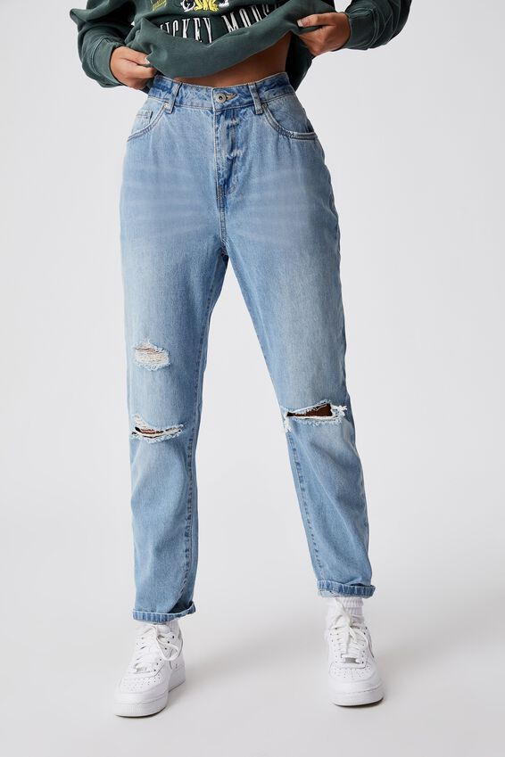 Mom Jean, 90s BLUE DISTRESSED