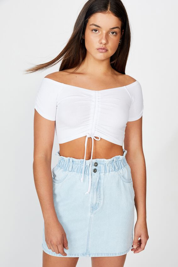 Pull Front Off The Shoulder Rib Top, WHITE