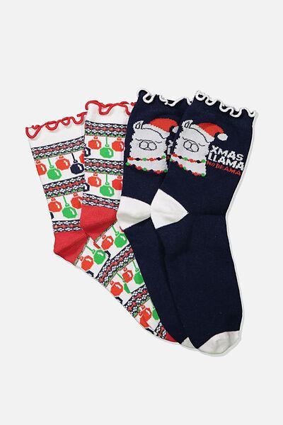 Xmas Gift Pack Socks, LLAMA/BAUBLE
