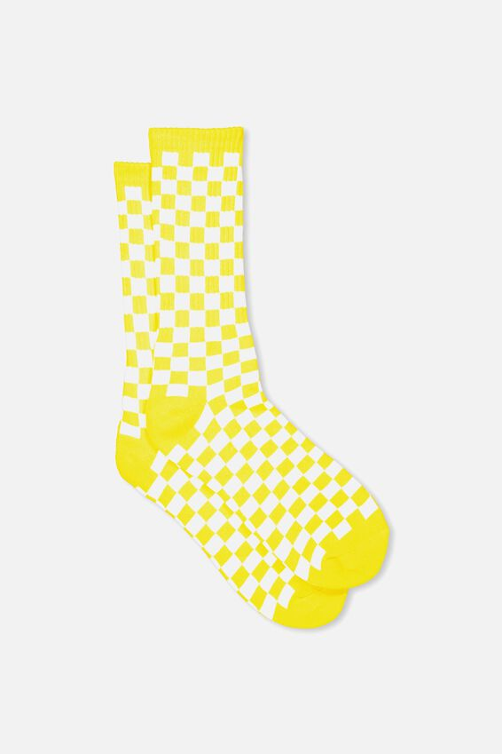 Retro Ribbed Socks, YELLOW CHECKERS