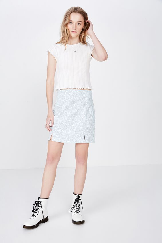 Short Sleeve Pointelle Top, WHITE