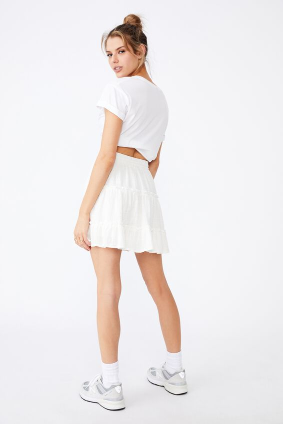 Textured Tiered Skirt, WHITE
