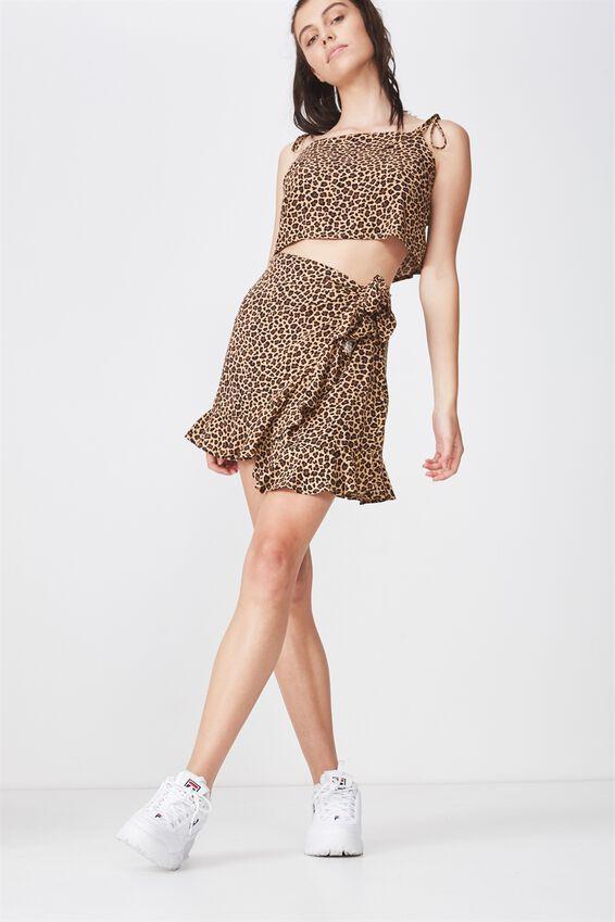 Wrap Ruffle Skirt, LULU LEOPARD