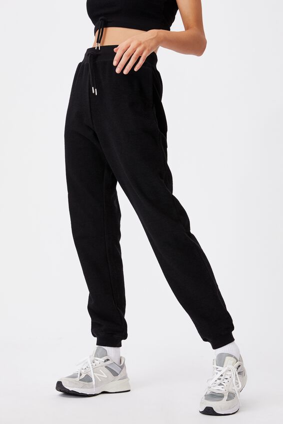 Reverse French Terry Slim Fit Trackpant, BLACK