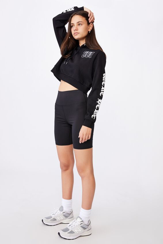 Classic Crop Graphic Hoodie, BLACK/WISH YOU WERE HERE