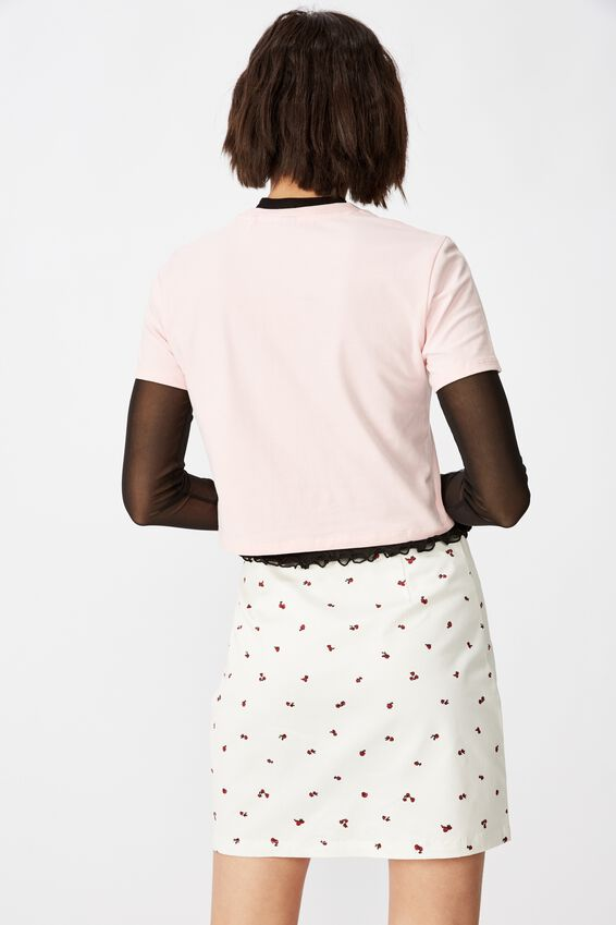 Double Split Mini Skirt, ROSE POSIE_WHITE