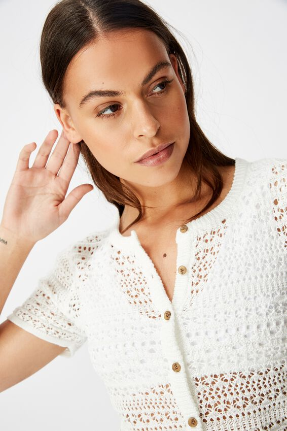 Crochet Short Sleeve Cardi, WHITE