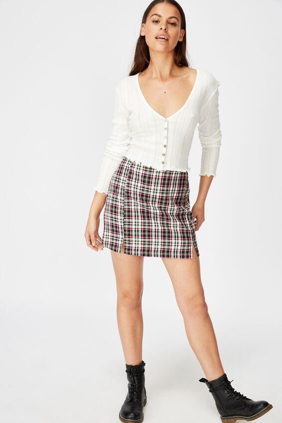 Double Split Mini Skirt, BLYTHE BLK PINK CHECK