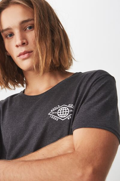 Curved Graphic T Shirt., CHARCOAL MARLE/TRADEMARK