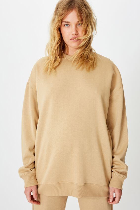 Oversized Crew Neck Sweater, DESERT BROWN