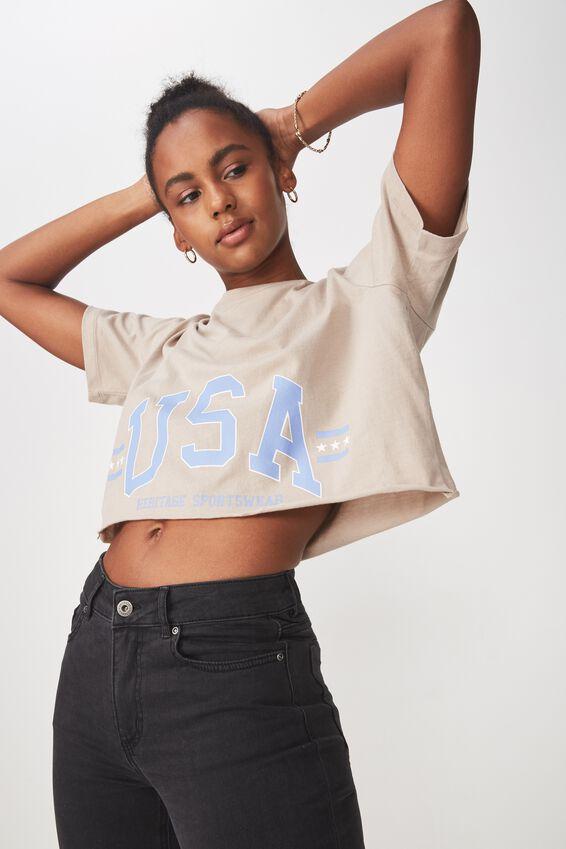Short Sleeve Raw Edge Crop T Shirt, LATTE_HERITAGE USA