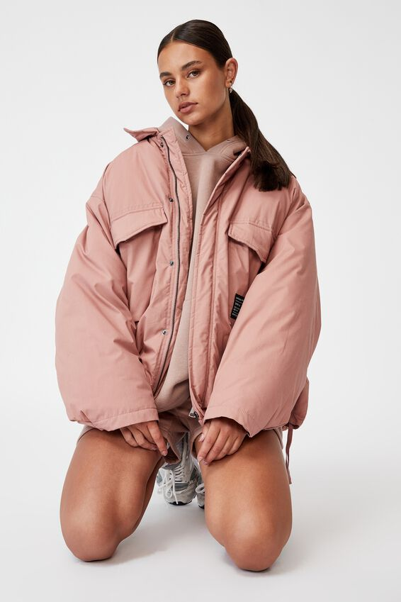 Oversized Padded Jacket, SILVER PINK